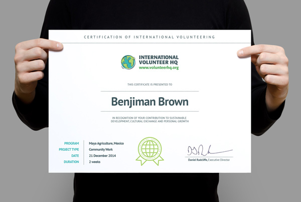 Certificate of International Volunteering