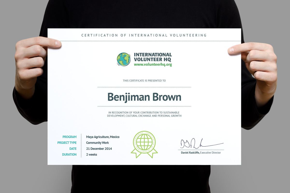Certificate Of International Volunteering  Creative Certificate Designs